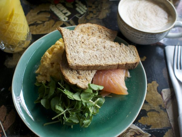 horseradish scrambled eggs, smoked salmon and watercress